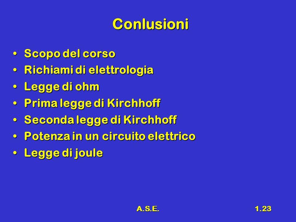 Conlusioni Scopo del corso Richiami di elettrologia Legge di ohm