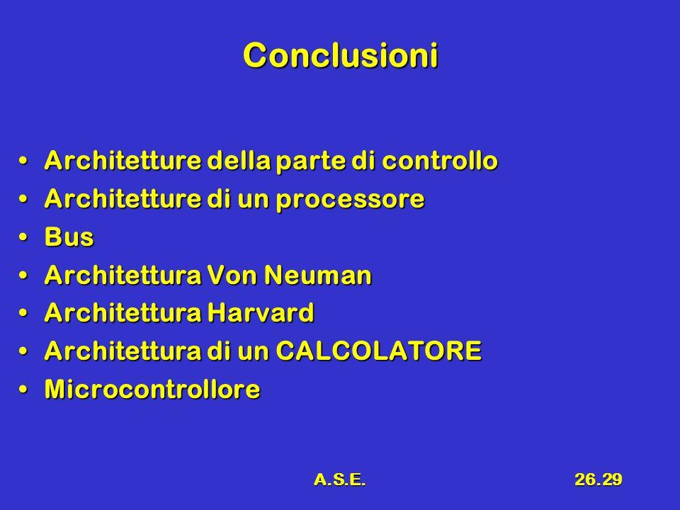 Conclusioni Architetture della parte di controllo
