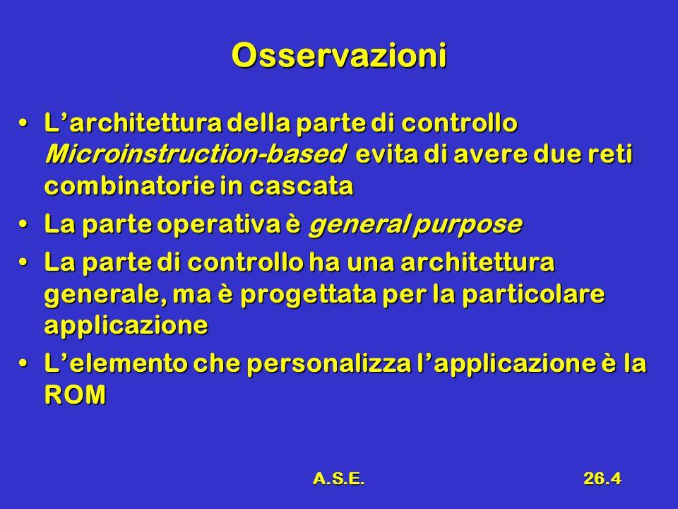 Osservazioni L'architettura della parte di controllo Microinstruction-based evita di avere due reti combinatorie in cascata.