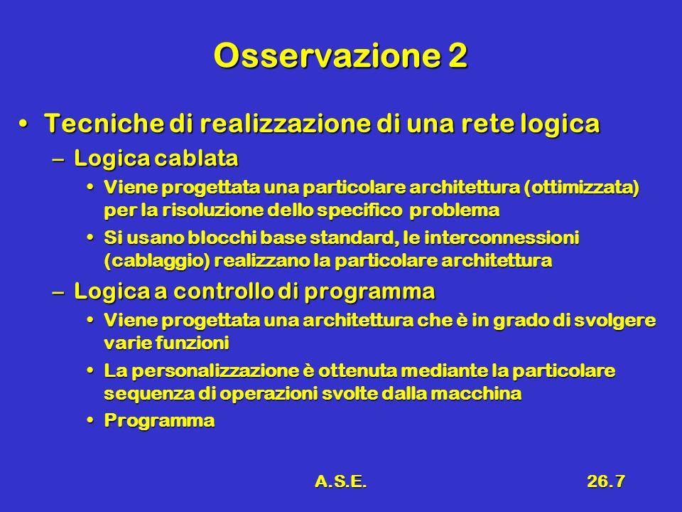 Osservazione 2 Tecniche di realizzazione di una rete logica