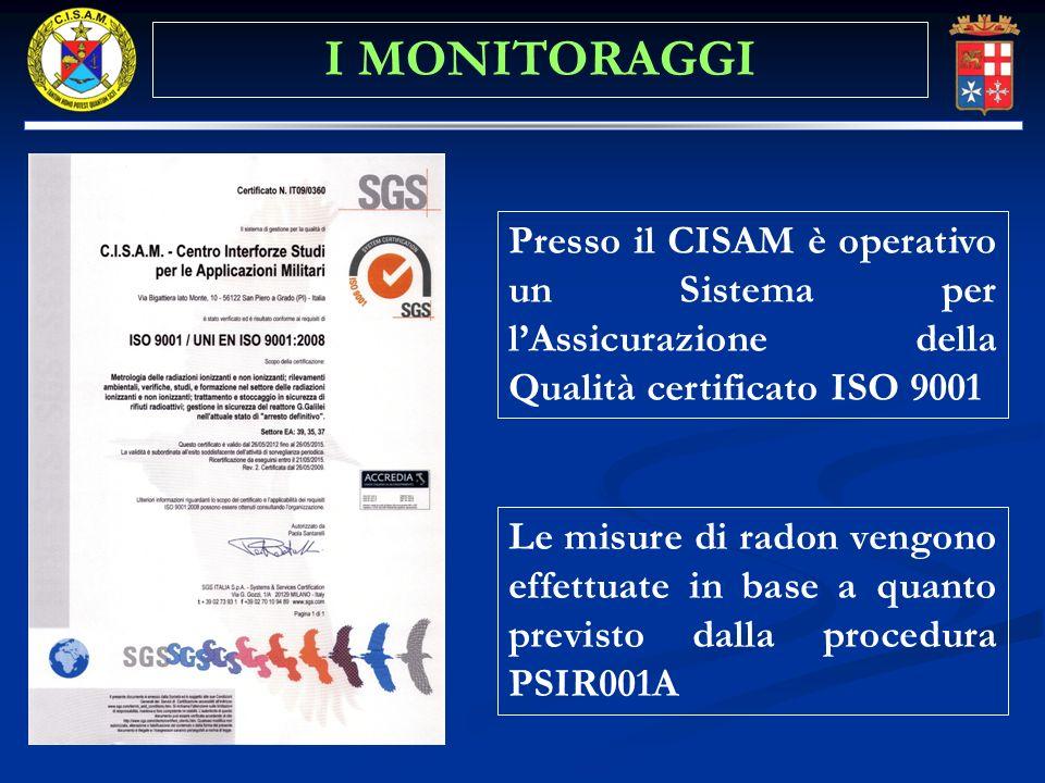 I MONITORAGGI Presso il CISAM è operativo un Sistema per l'Assicurazione della Qualità certificato ISO 9001.