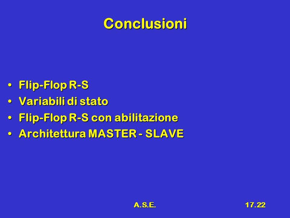 Conclusioni Flip-Flop R-S Variabili di stato