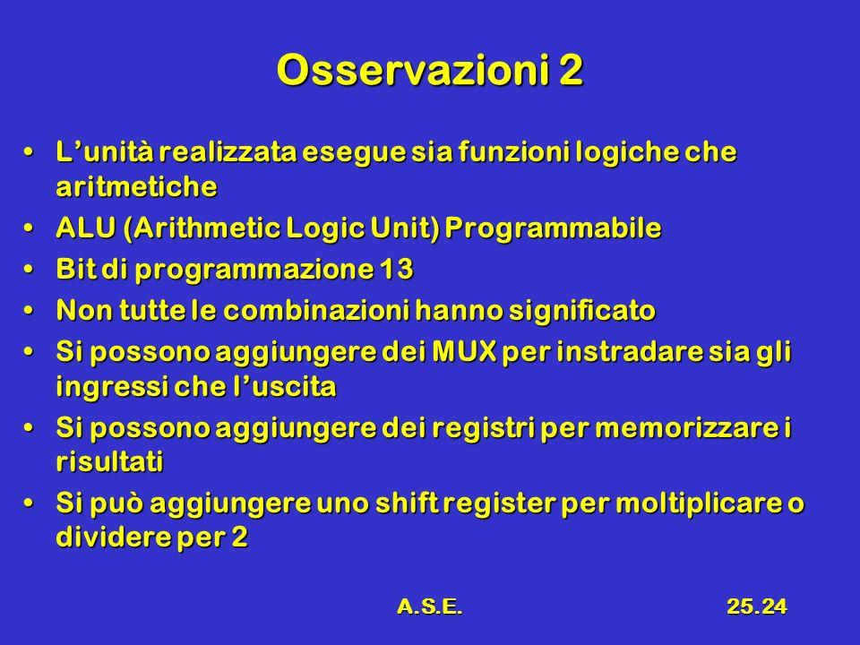 Osservazioni 2 L'unità realizzata esegue sia funzioni logiche che aritmetiche. ALU (Arithmetic Logic Unit) Programmabile.