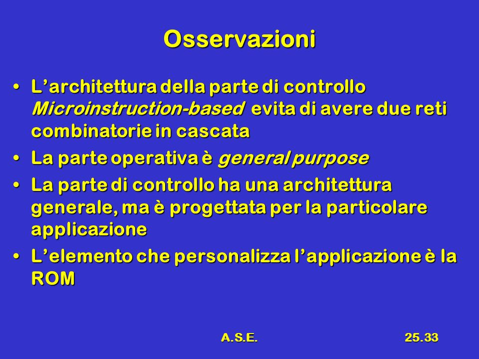 OsservazioniL'architettura della parte di controllo Microinstruction-based evita di avere due reti combinatorie in cascata.
