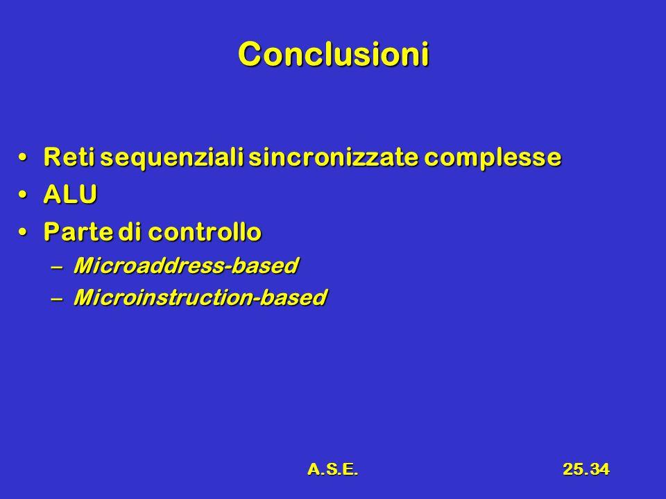 Conclusioni Reti sequenziali sincronizzate complesse ALU