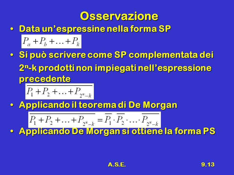 Osservazione Data un'espressine nella forma SP