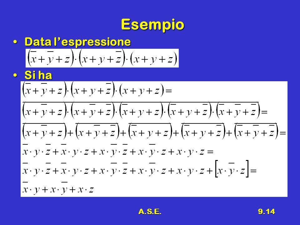 Esempio Data l'espressione Si ha A.S.E.