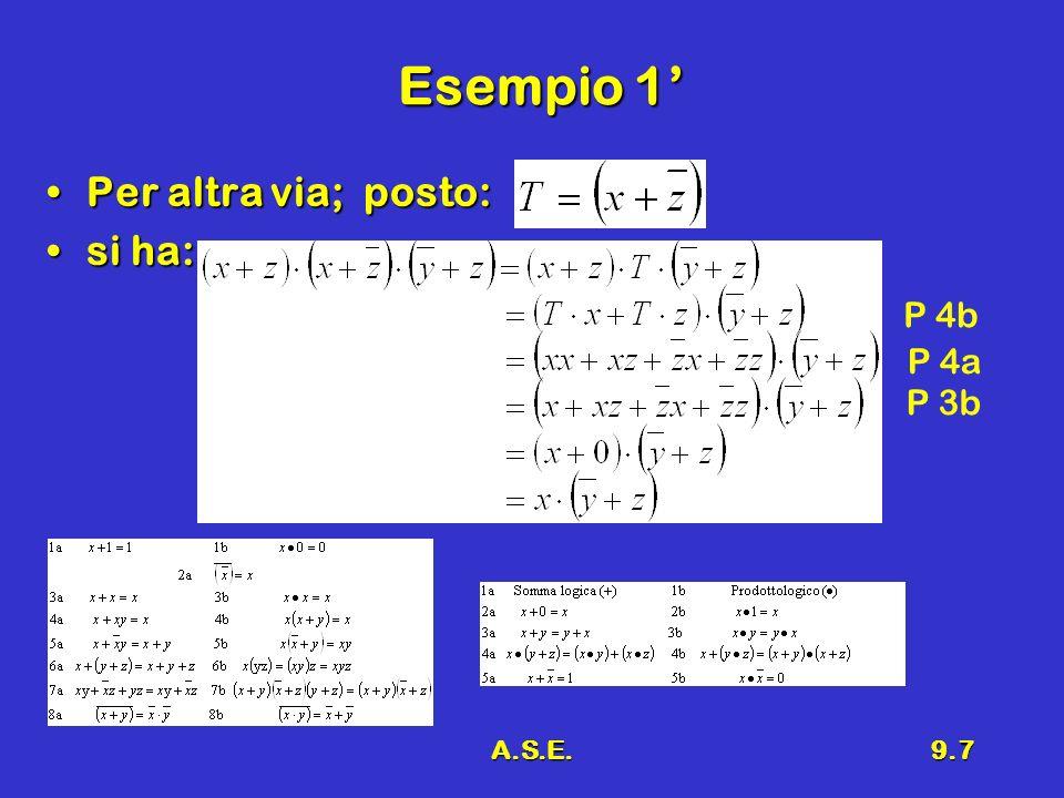 Esempio 1' Per altra via; posto: si ha: P 4b P 4a P 3b A.S.E.