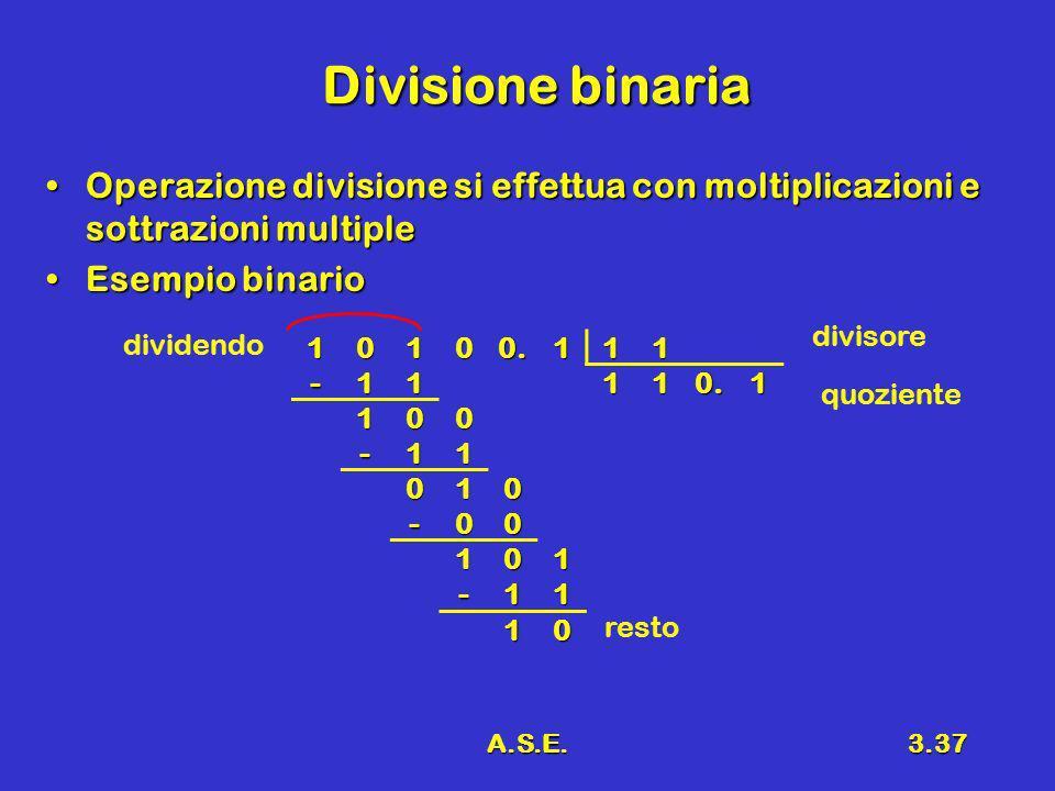 Divisione binaria Operazione divisione si effettua con moltiplicazioni e sottrazioni multiple. Esempio binario.