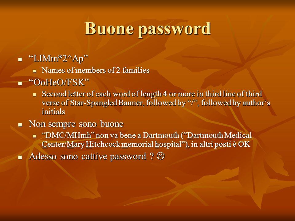 Buone password LlMm*2^Ap OoHeO/FSK Non sempre sono buone