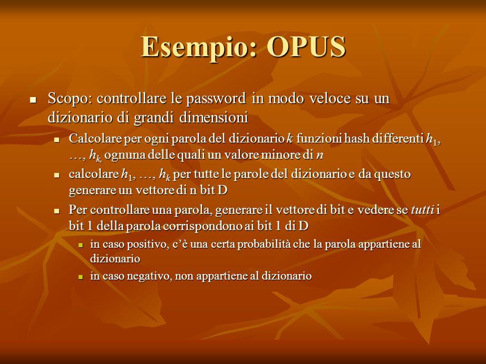 Esempio: OPUS Scopo: controllare le password in modo veloce su un dizionario di grandi dimensioni.