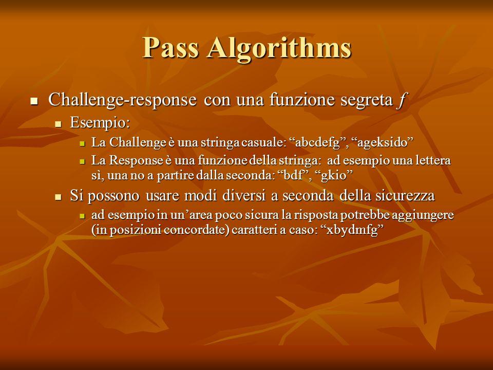 Pass Algorithms Challenge-response con una funzione segreta f Esempio: