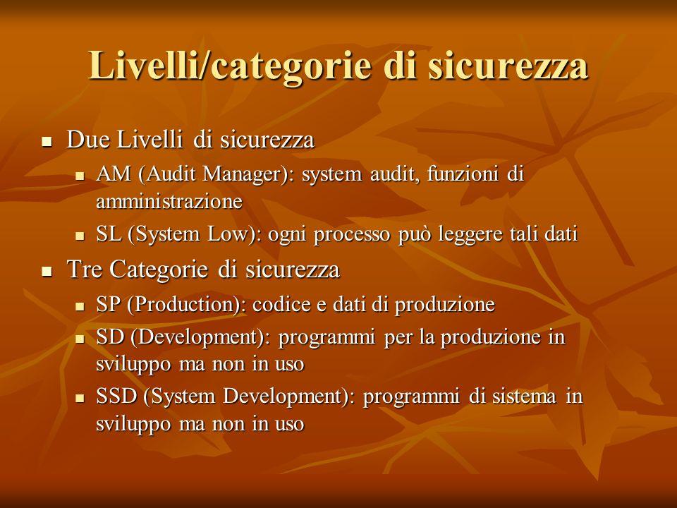 Livelli/categorie di sicurezza