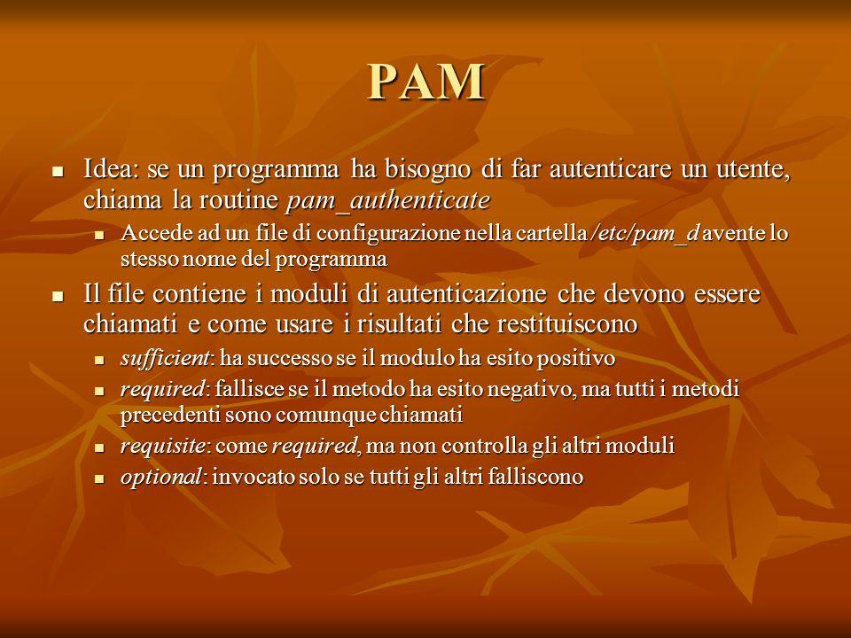 PAM Idea: se un programma ha bisogno di far autenticare un utente, chiama la routine pam_authenticate.
