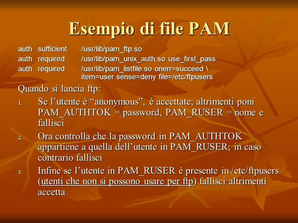 Esempio di file PAM Quando si lancia ftp: