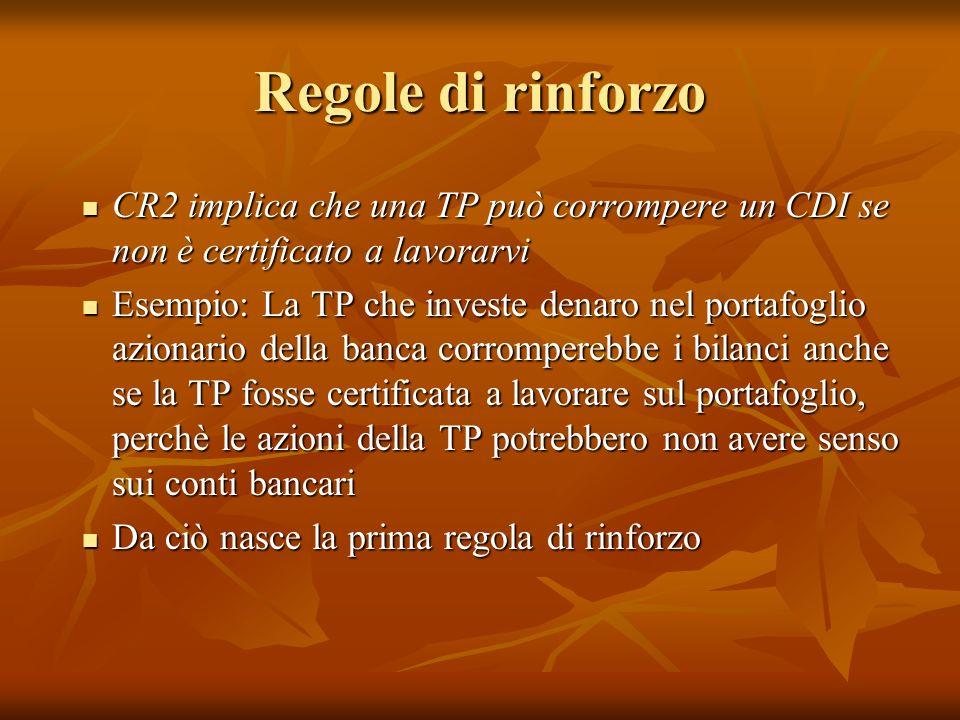 Regole di rinforzo CR2 implica che una TP può corrompere un CDI se non è certificato a lavorarvi.