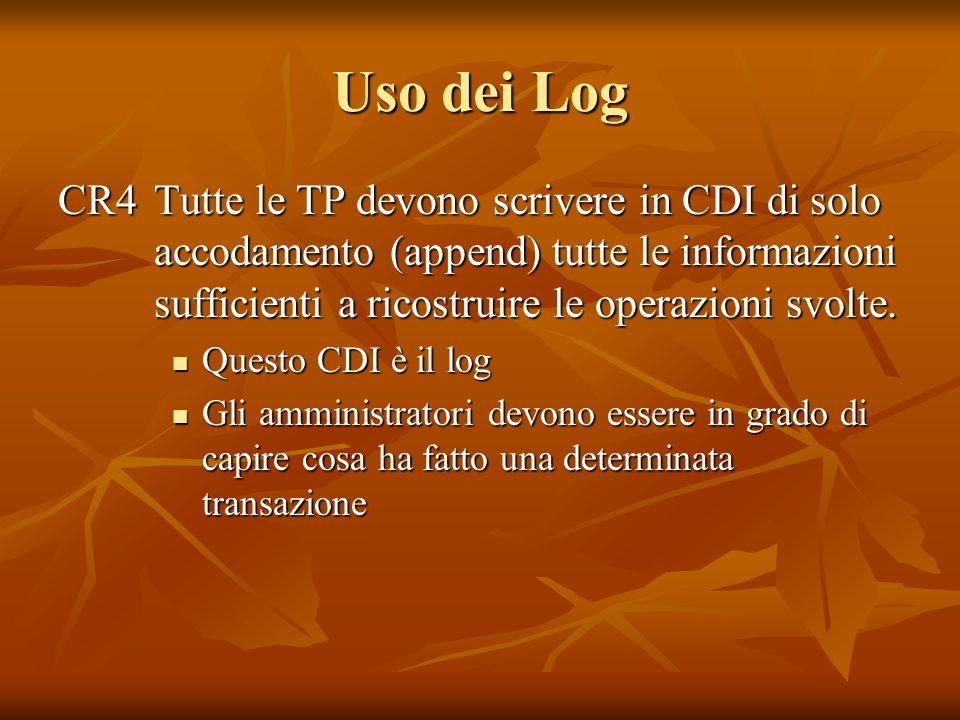 Uso dei Log CR4 Tutte le TP devono scrivere in CDI di solo accodamento (append) tutte le informazioni sufficienti a ricostruire le operazioni svolte.