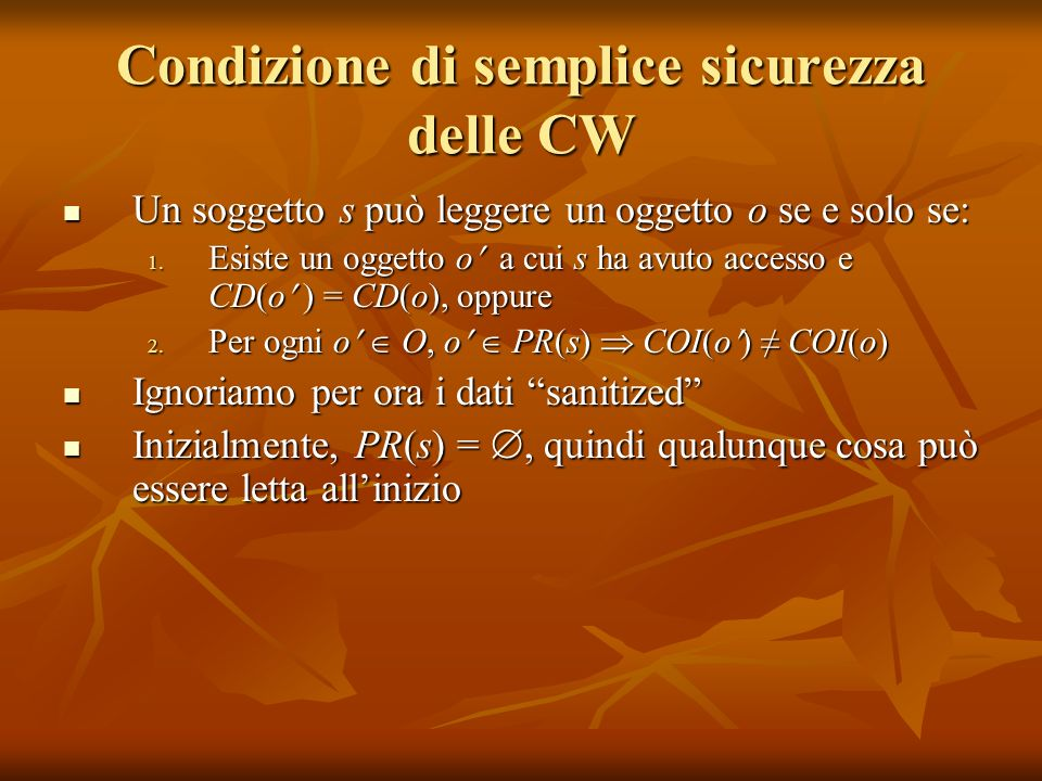 Condizione di semplice sicurezza delle CW