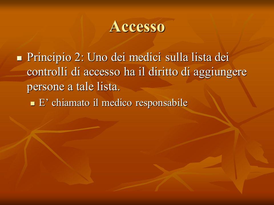 Accesso Principio 2: Uno dei medici sulla lista dei controlli di accesso ha il diritto di aggiungere persone a tale lista.