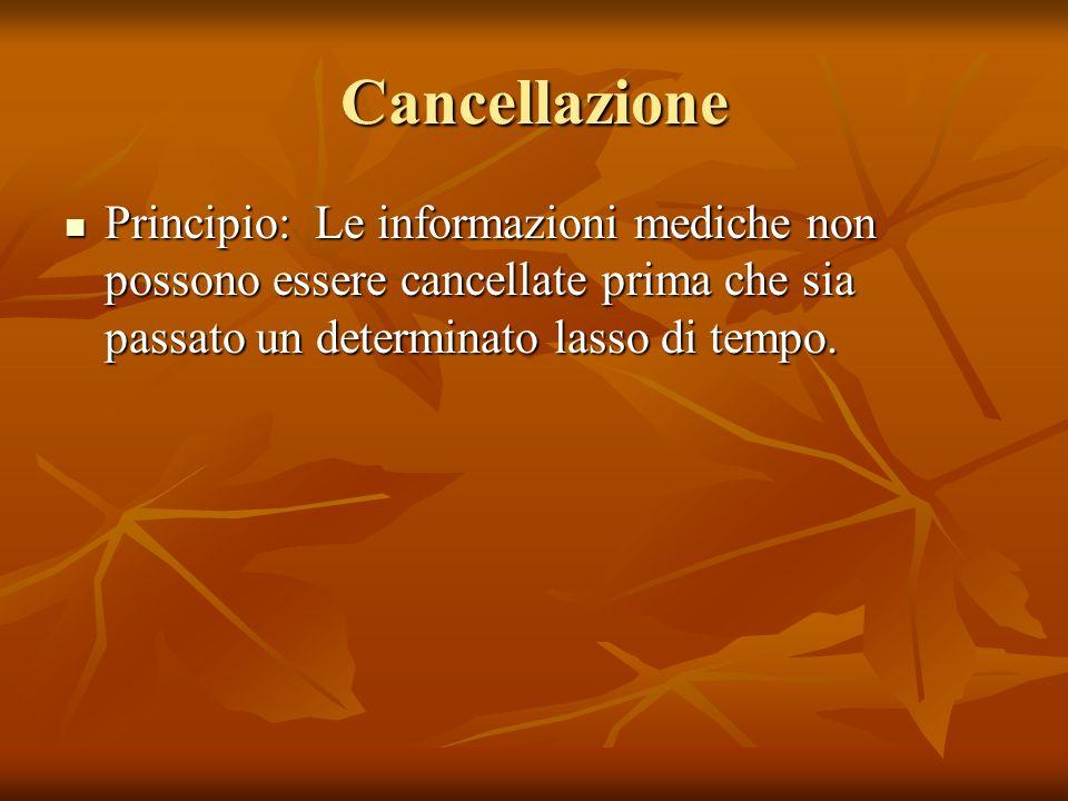 Cancellazione Principio: Le informazioni mediche non possono essere cancellate prima che sia passato un determinato lasso di tempo.