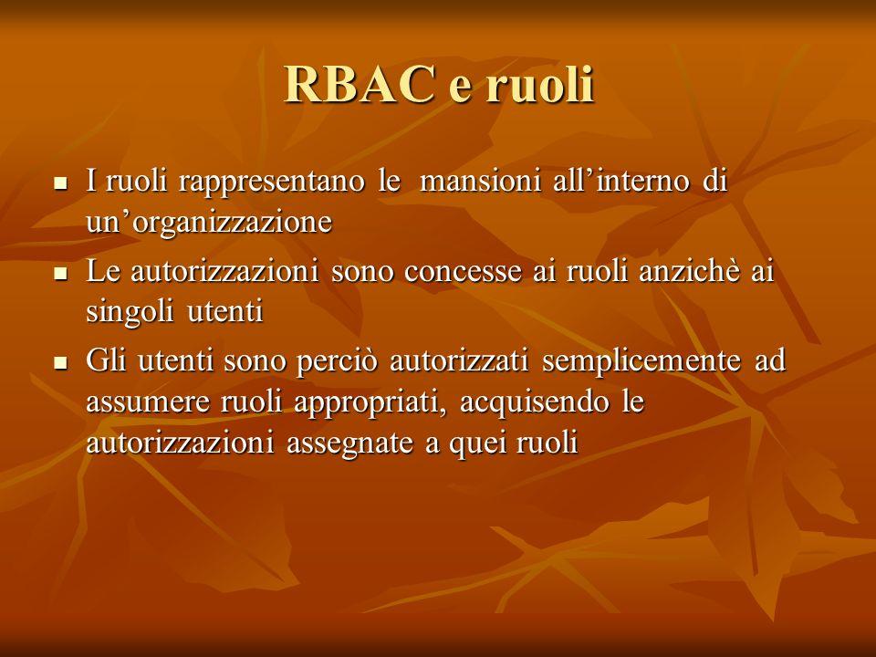 RBAC e ruoli I ruoli rappresentano le mansioni all'interno di un'organizzazione.