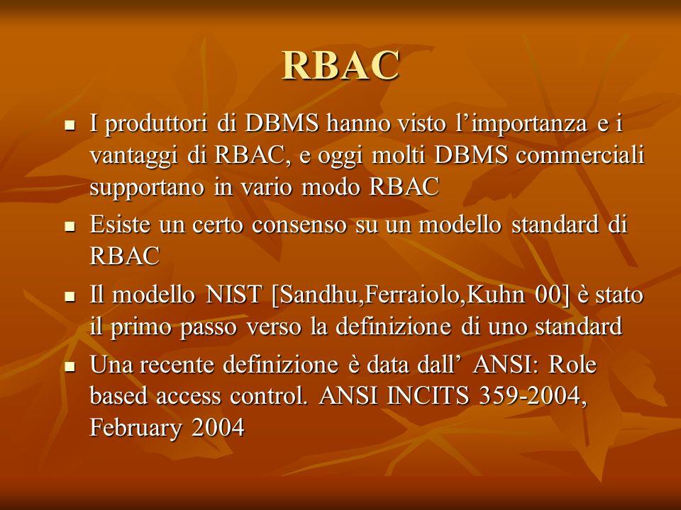 RBAC I produttori di DBMS hanno visto l'importanza e i vantaggi di RBAC, e oggi molti DBMS commerciali supportano in vario modo RBAC.