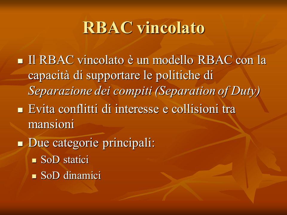 RBAC vincolato Il RBAC vincolato è un modello RBAC con la capacità di supportare le politiche di Separazione dei compiti (Separation of Duty)