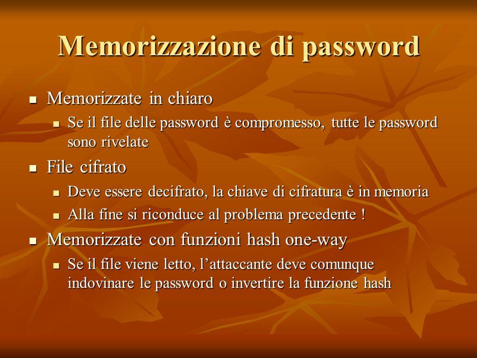 Memorizzazione di password