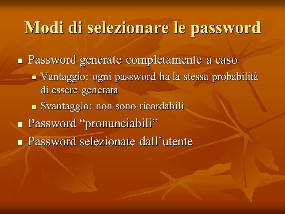 Modi di selezionare le password