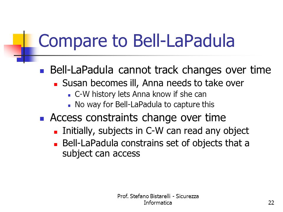 Compare to Bell-LaPadula