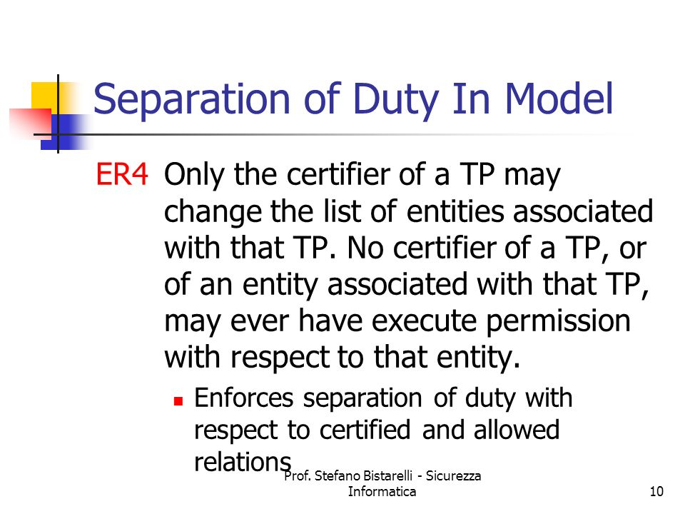 Separation of Duty In Model