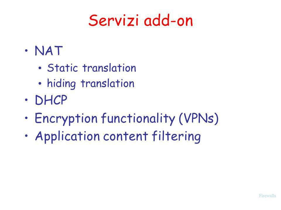 Servizi add-on NAT DHCP Encryption functionality (VPNs)