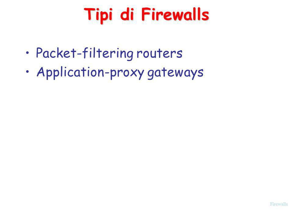 Tipi di Firewalls Packet-filtering routers Application-proxy gateways