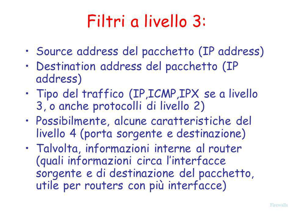 Filtri a livello 3: Source address del pacchetto (IP address)