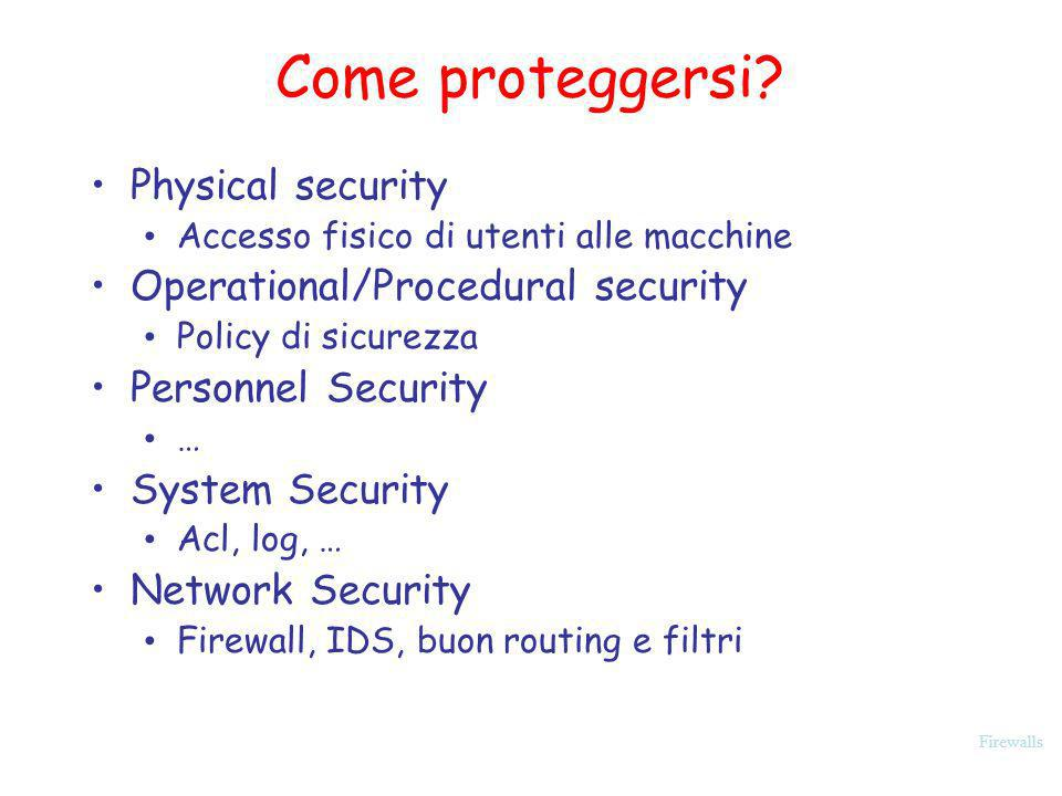 Come proteggersi Physical security Operational/Procedural security