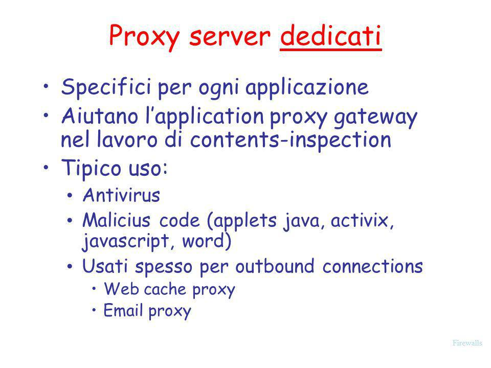 Proxy server dedicati Specifici per ogni applicazione