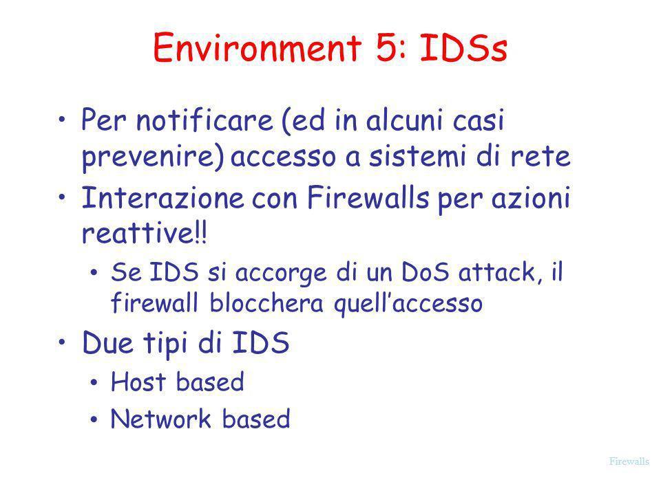 Environment 5: IDSs Per notificare (ed in alcuni casi prevenire) accesso a sistemi di rete. Interazione con Firewalls per azioni reattive!!