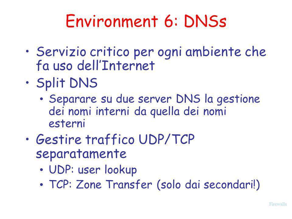 Environment 6: DNSs Servizio critico per ogni ambiente che fa uso dell'Internet. Split DNS.