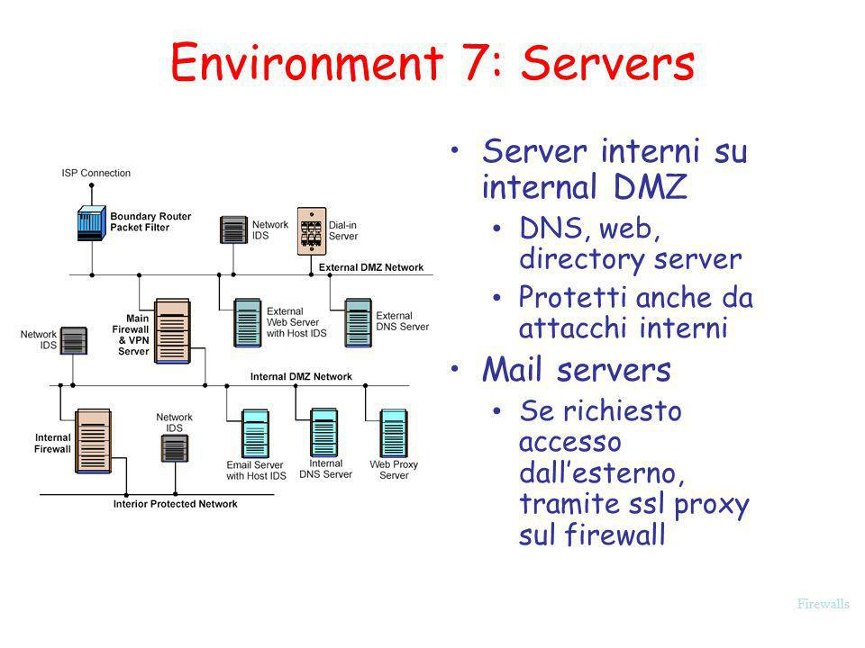 Environment 7: Servers Server interni su internal DMZ Mail servers