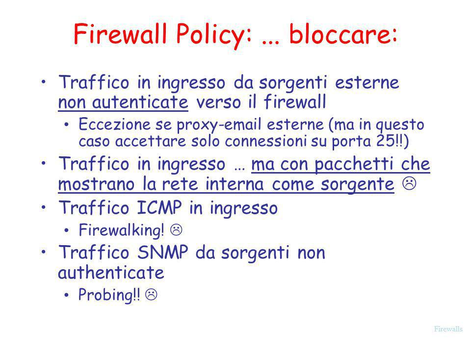 Firewall Policy: ... bloccare:
