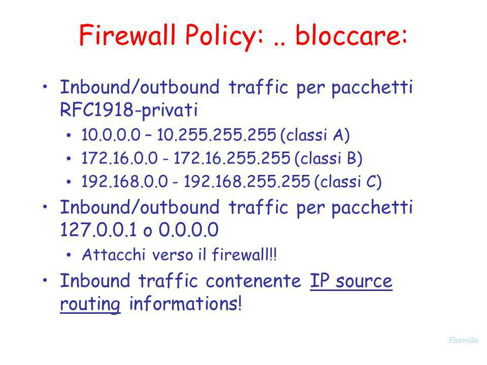 Firewall Policy: .. bloccare: