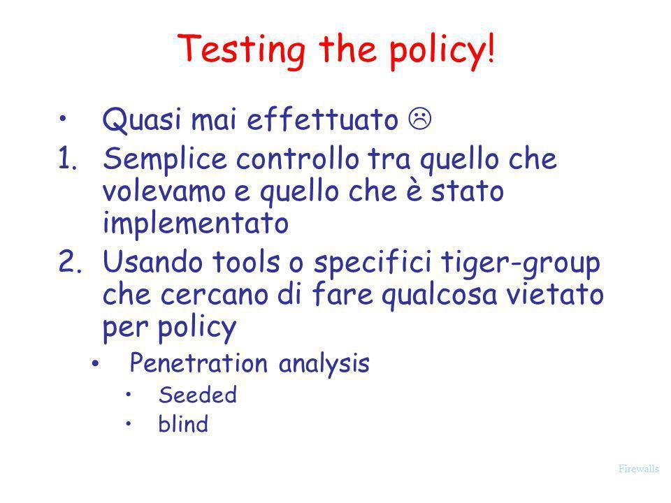 Testing the policy! Quasi mai effettuato 