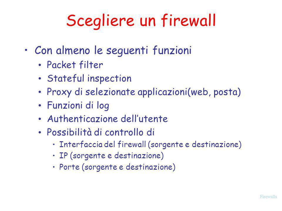 Scegliere un firewall Con almeno le seguenti funzioni Packet filter