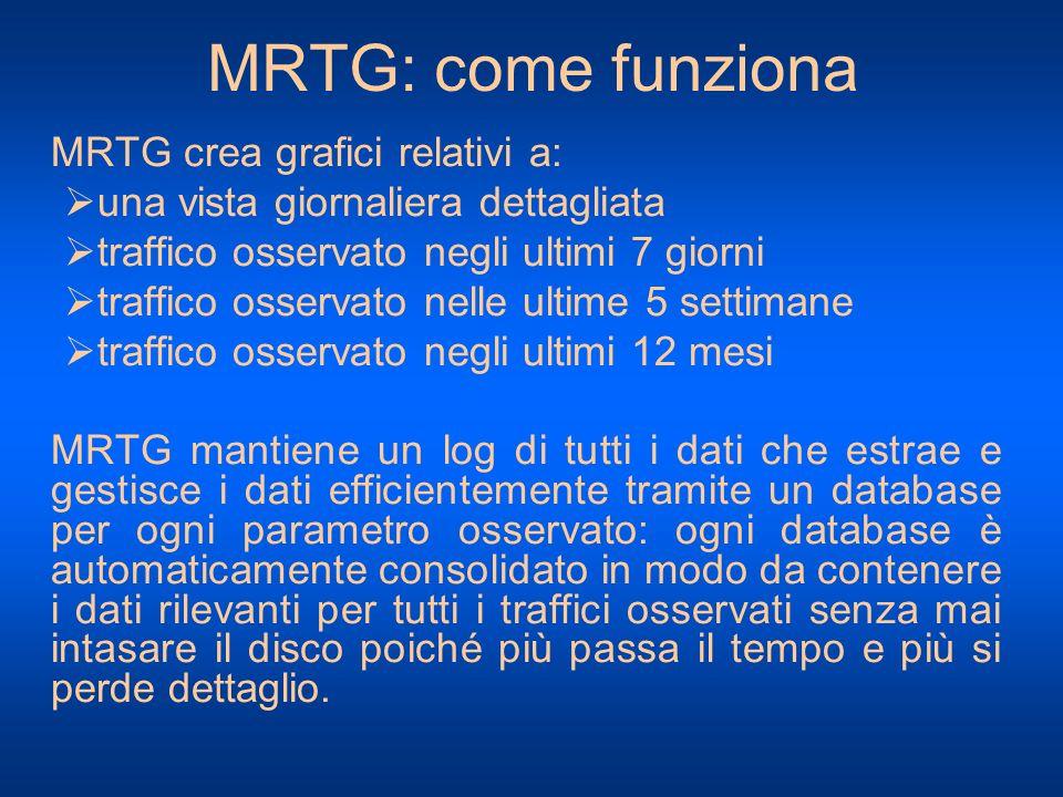 MRTG: come funziona MRTG crea grafici relativi a: