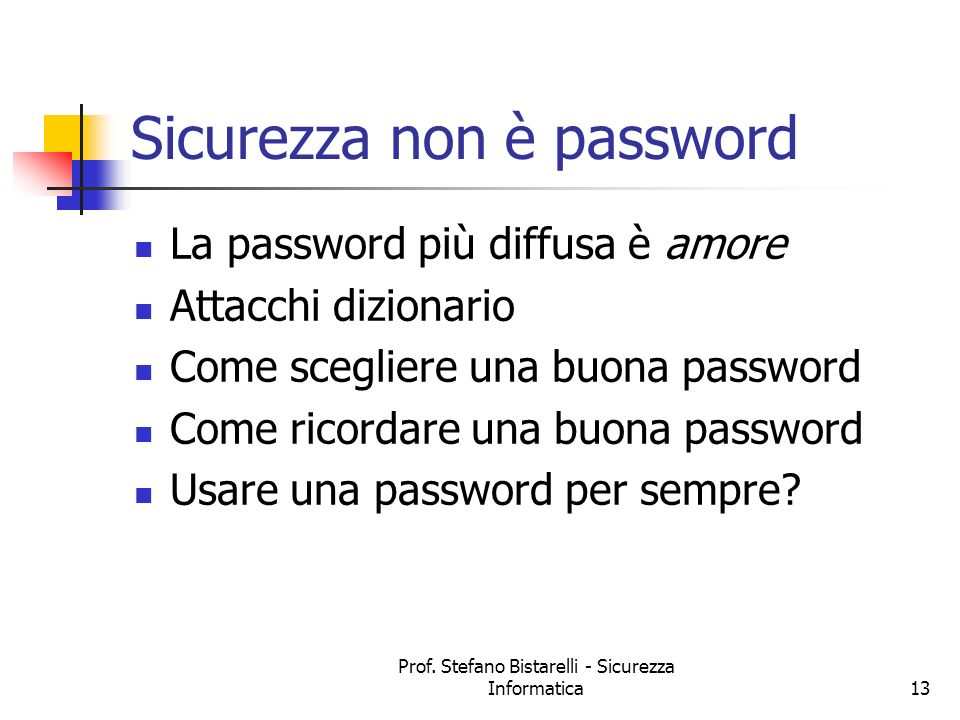 Sicurezza non è password