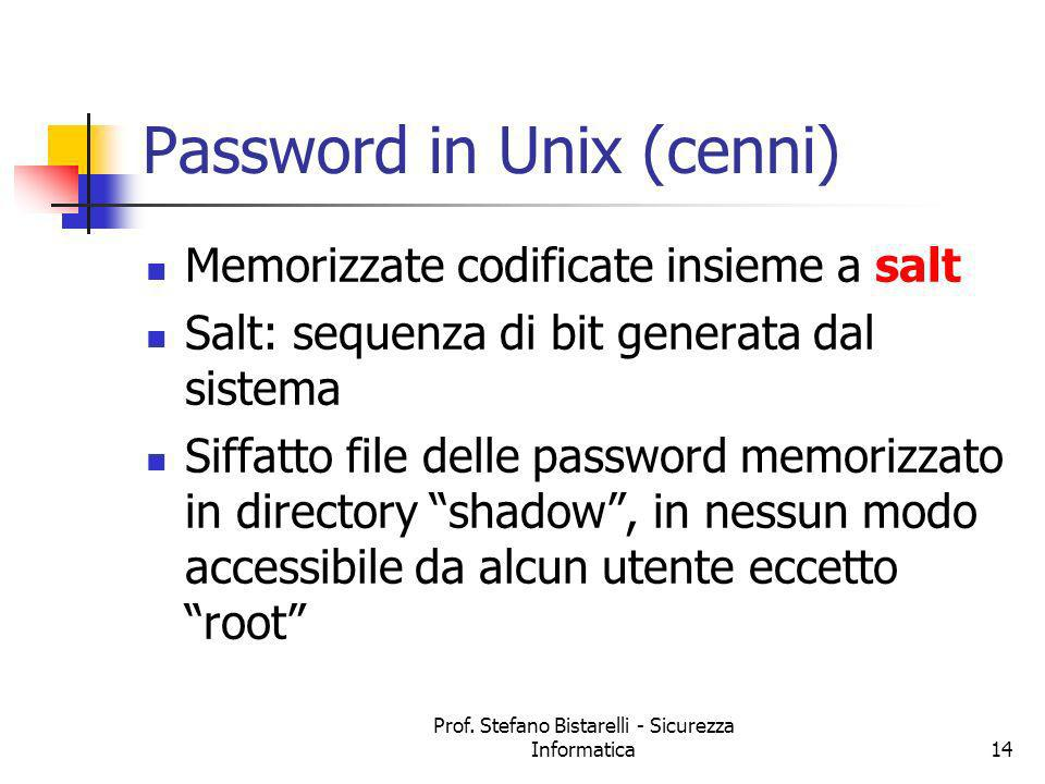 Password in Unix (cenni)