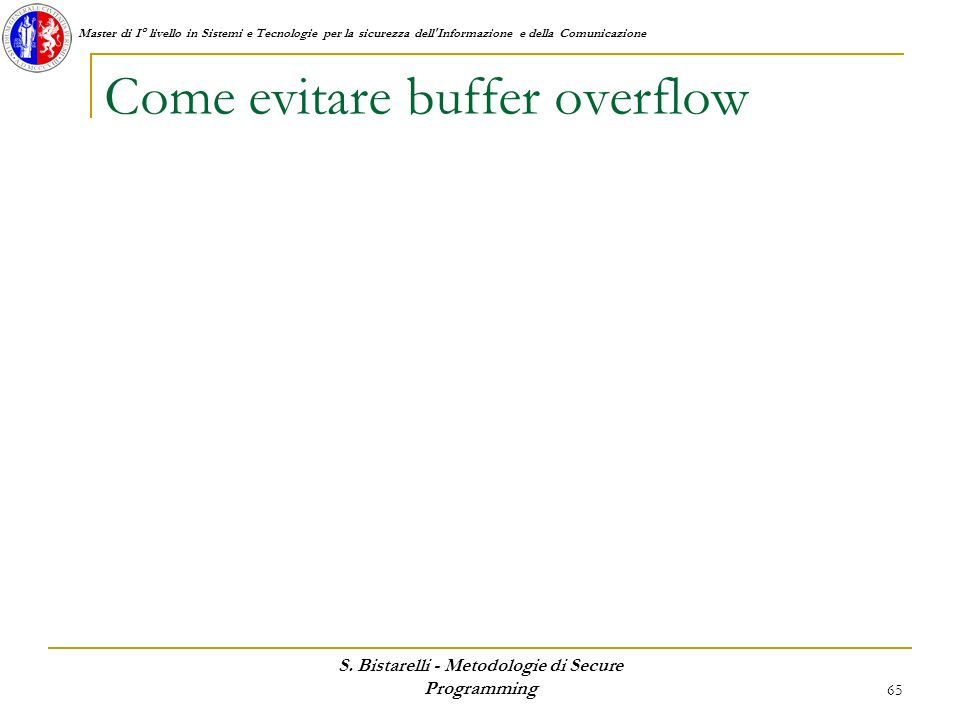 Come evitare buffer overflow