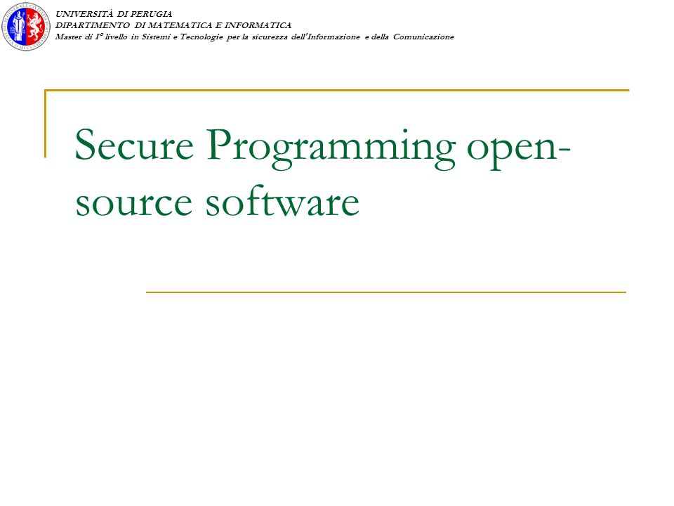 Secure Programming open-source software