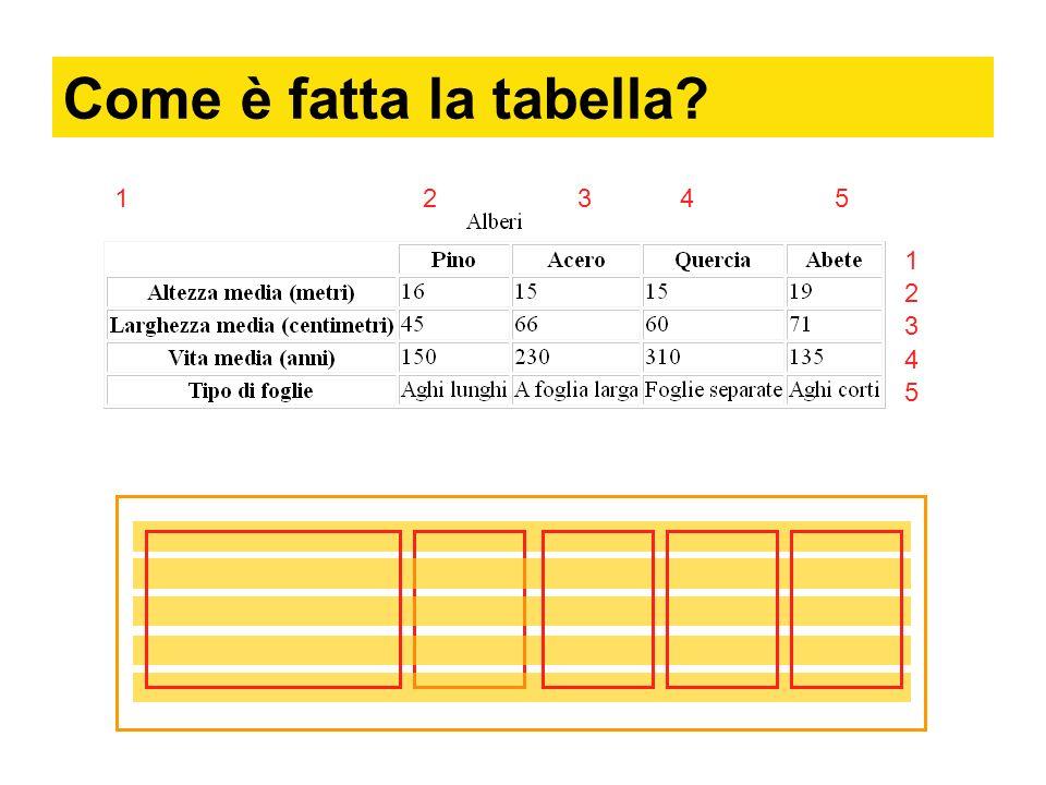 Come è fatta la tabella 1 2 3 4 5 1 2 3 4 5