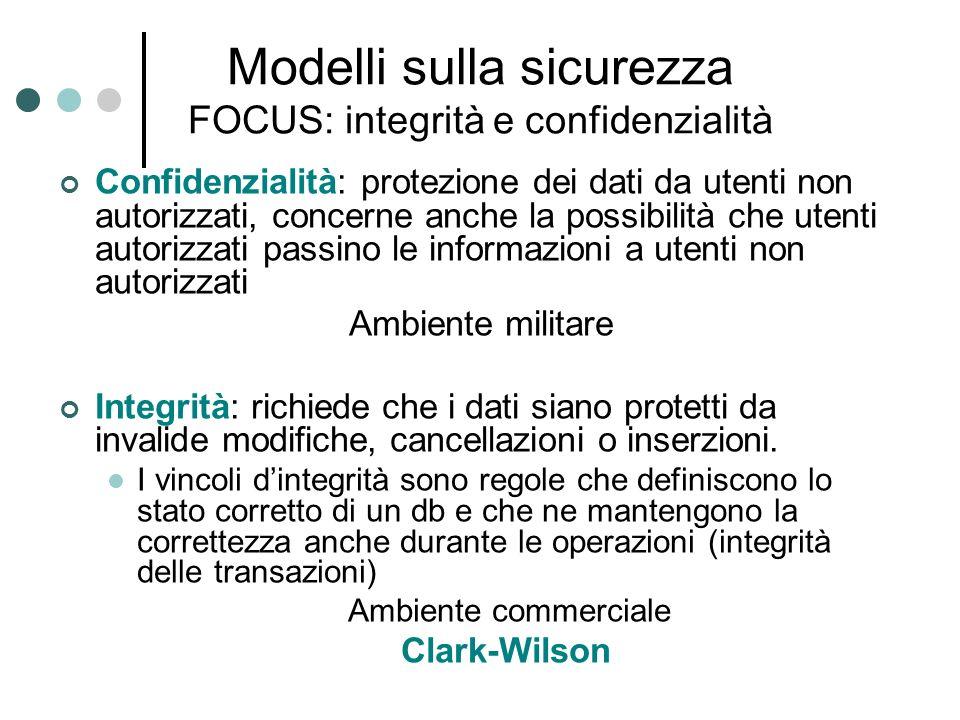Modelli sulla sicurezza FOCUS: integrità e confidenzialità